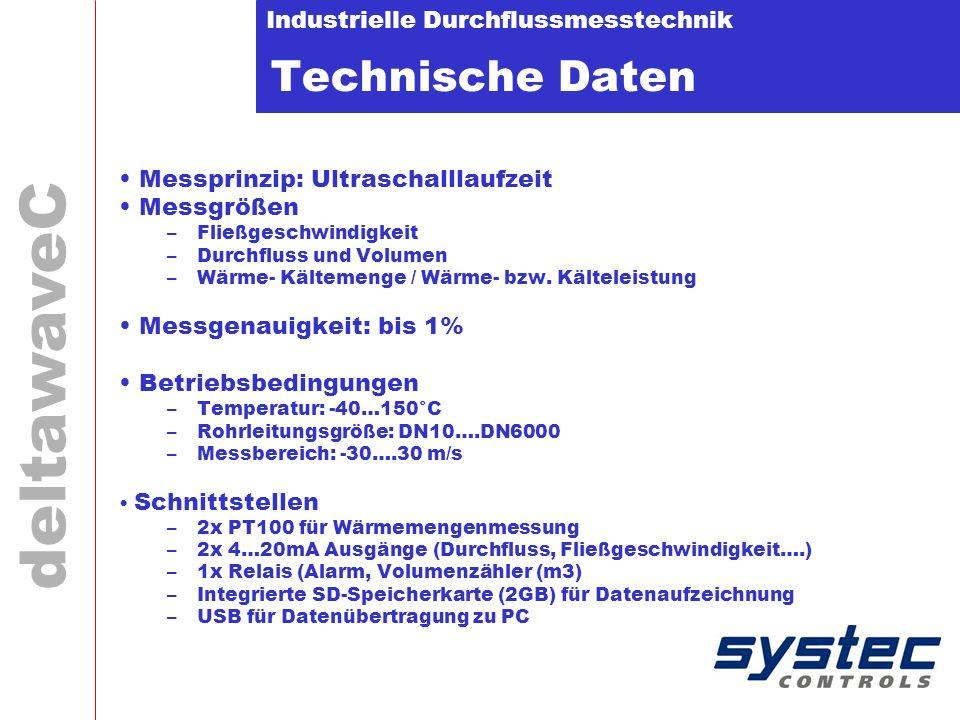 Industrielle Durchflussmesstechnik deltawaveC Technische Daten Messprinzip: Ultraschalllaufzeit Messgrößen –Fließgeschwindigkeit –Durchfluss und Volumen –Wärme- Kältemenge / Wärme- bzw.