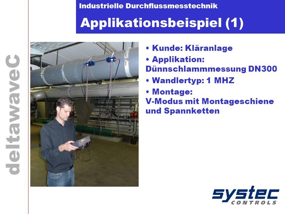 Industrielle Durchflussmesstechnik deltawaveC Applikationsbeispiel (1) Kunde: Kläranlage Applikation: Dünnschlammmessung DN300 Wandlertyp: 1 MHZ Monta