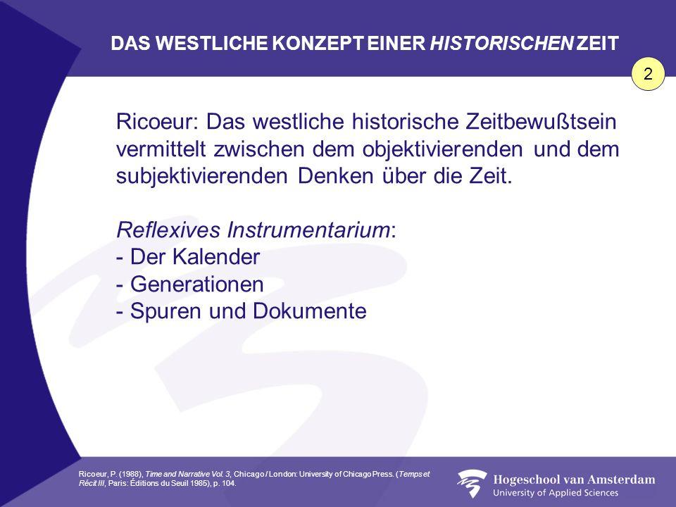 Ricoeur: Das westliche historische Zeitbewußtsein vermittelt zwischen dem objektivierenden und dem subjektivierenden Denken über die Zeit. Reflexives