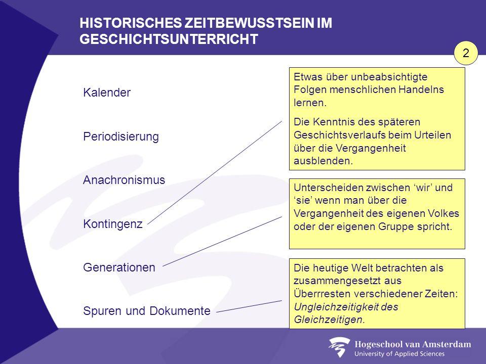 HISTORISCHES ZEITBEWUSSTSEIN IM GESCHICHTSUNTERRICHT Kalender Periodisierung Anachronismus Kontingenz Generationen Spuren und Dokumente Etwas über unb