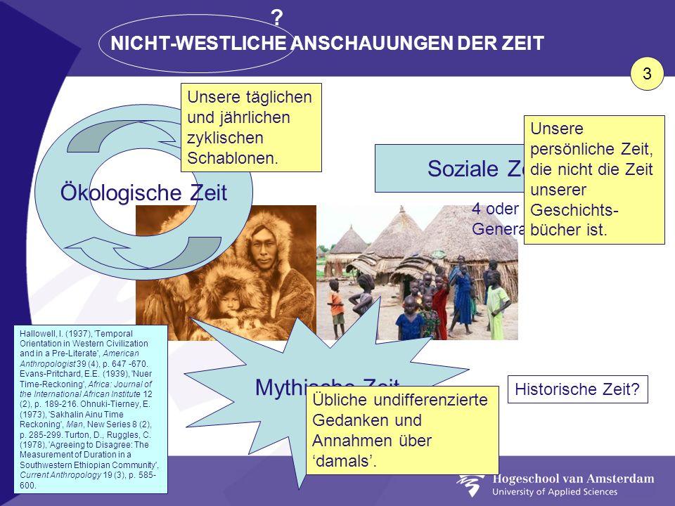 NICHT-WESTLICHE ANSCHAUUNGEN DER ZEIT Ökologische Zeit Soziale Zeit Mythische Zeit 4 oder 5 Generationen Historische Zeit? Hallowell, I. (1937), 'Temp