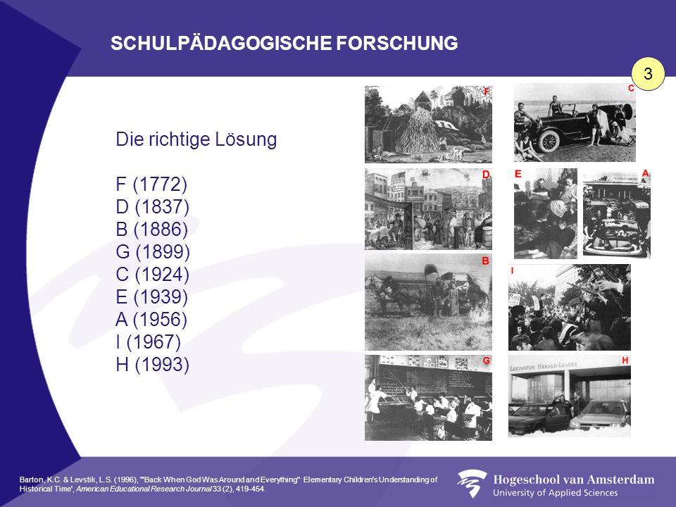 Die richtige Lösung F (1772) D (1837) B (1886) G (1899) C (1924) E (1939) A (1956) I (1967) H (1993) SCHULPÄDAGOGISCHE FORSCHUNG 3 Barton, K.C. & Levs