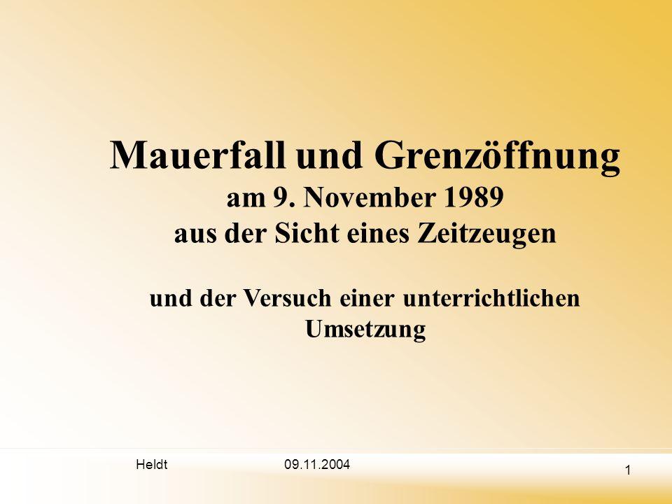 Heldt 2 09.11.2004 Problematik von (Ge-) Denktagen (Ge-) Denktage wie der 9.