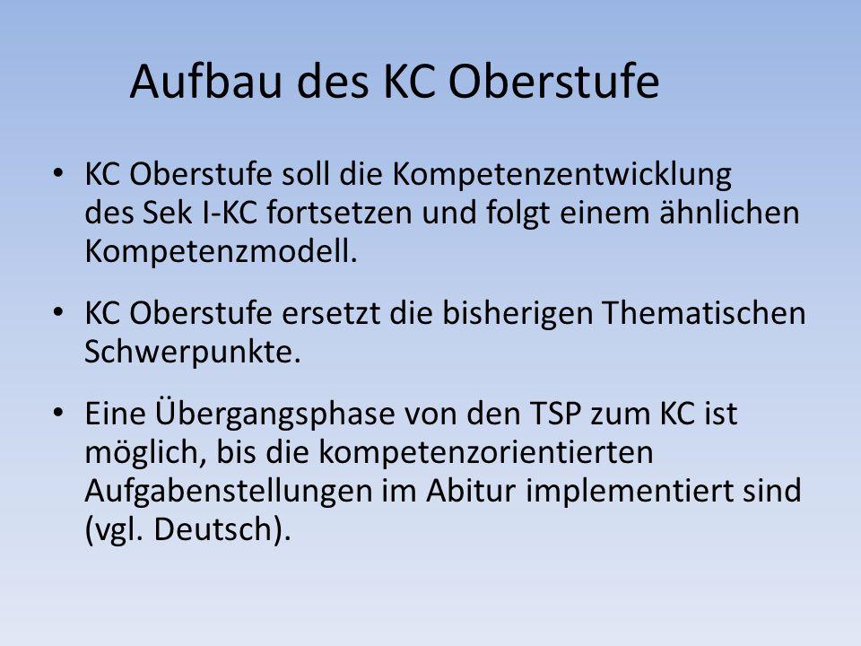 Aufbau des KC Oberstufe KC Oberstufe soll die Kompetenzentwicklung des Sek I-KC fortsetzen und folgt einem ähnlichen Kompetenzmodell. KC Oberstufe ers