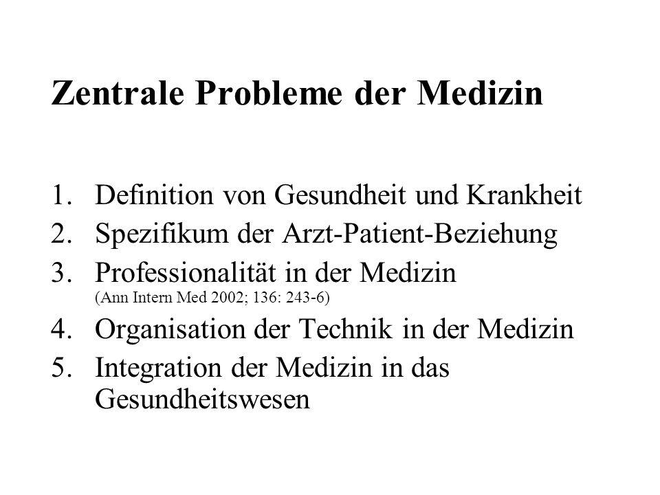 Zentrale Probleme der Medizin 1.Definition von Gesundheit und Krankheit 2.Spezifikum der Arzt-Patient-Beziehung 3.Professionalität in der Medizin (Ann