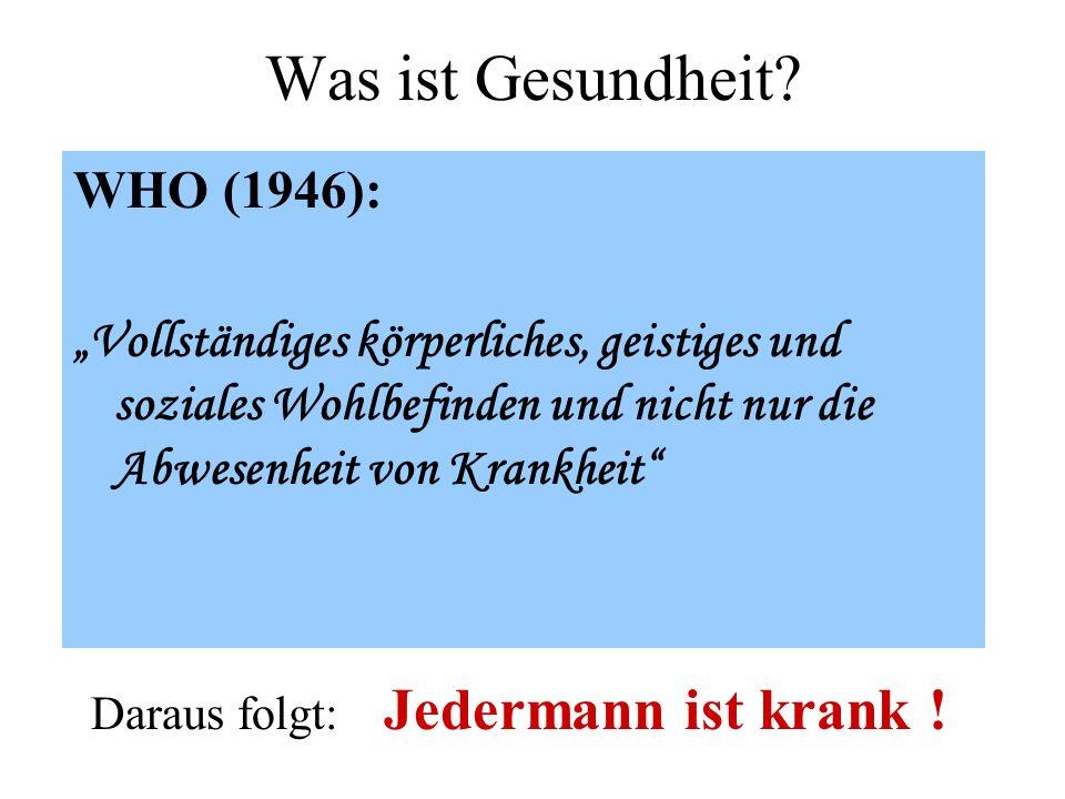 Was ist Gesundheit? WHO (1946): Vollständiges körperliches, geistiges und soziales Wohlbefinden und nicht nur die Abwesenheit von Krankheit Daraus fol