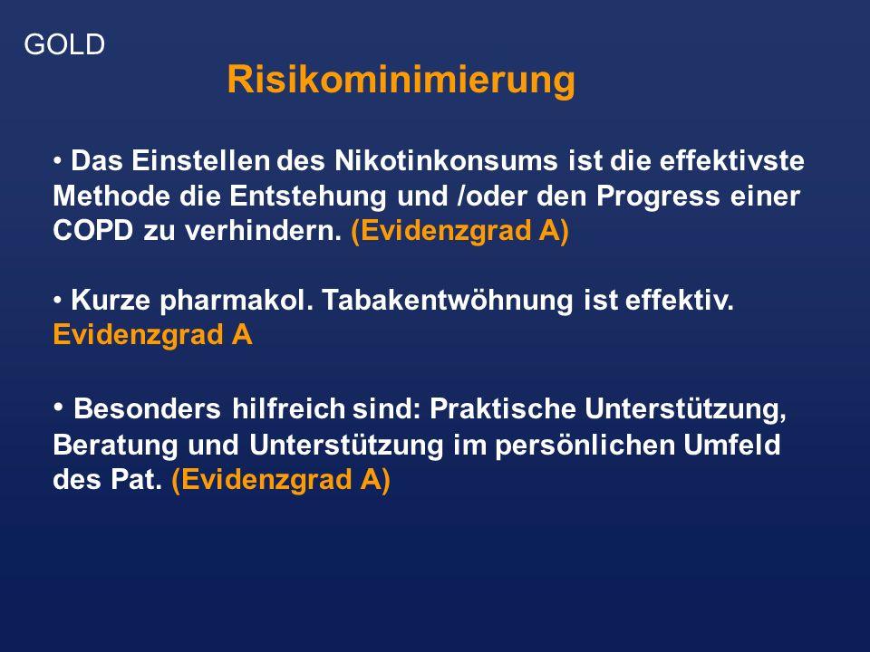 GOLD Das Einstellen des Nikotinkonsums ist die effektivste Methode die Entstehung und /oder den Progress einer COPD zu verhindern. (Evidenzgrad A) Kur