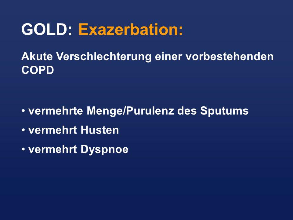 GOLD: Exazerbation: Akute Verschlechterung einer vorbestehenden COPD vermehrte Menge/Purulenz des Sputums vermehrt Husten vermehrt Dyspnoe