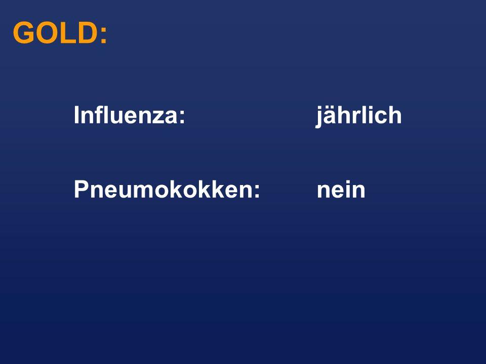 Influenza:jährlich Pneumokokken:nein GOLD: