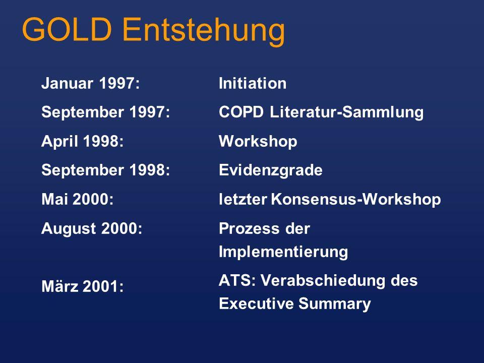 GOLD Entstehung Januar 1997: September 1997: April 1998: September 1998: Mai 2000: August 2000: März 2001: Initiation COPD Literatur-Sammlung Workshop