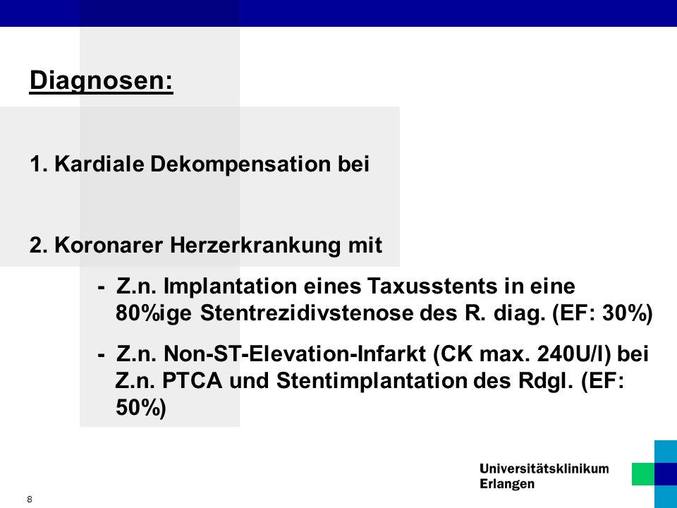 8 Diagnosen: 1. Kardiale Dekompensation bei 2. Koronarer Herzerkrankung mit - Z.n. Implantation eines Taxusstents in eine 80%ige Stentrezidivstenose d