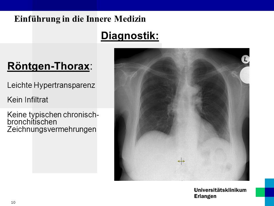 10 Einführung in die Innere Medizin Diagnostik: Röntgen-Thorax: Leichte Hypertransparenz Kein Infiltrat Keine typischen chronisch- bronchitischen Zeic
