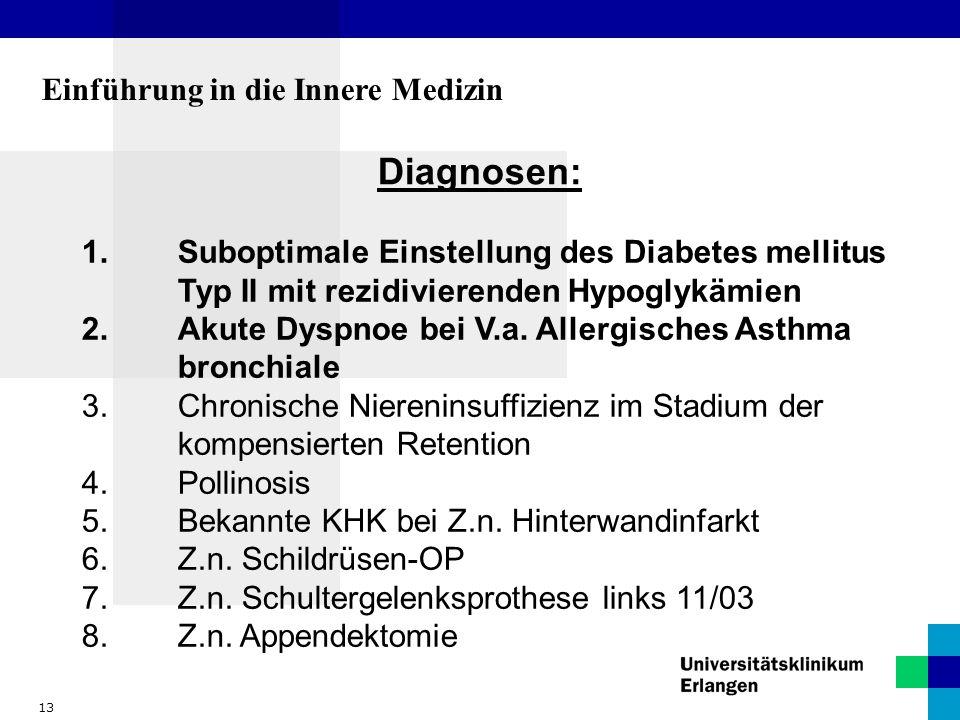 13 Einführung in die Innere Medizin Diagnosen: 1.Suboptimale Einstellung des Diabetes mellitus Typ II mit rezidivierenden Hypoglykämien 2.Akute Dyspno
