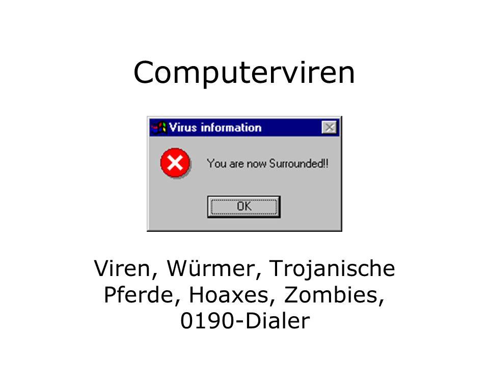 Dateiviren-Arbeitsweise +----------------+ +------------+ | P1 | P2 | | V1 | V2 | +----------------+ +------------+ The uninfected file The virus code +---------------------+ | P1 | P2 | P1 | +---------------------+ | V1 | P2 | P1 | +---------------------+ +-----------------------------+ | V1 | P2 | P1 | V2 | +-----------------------------+