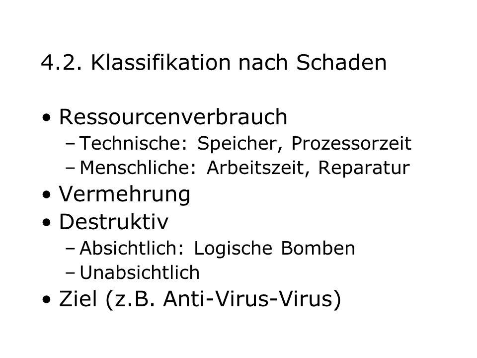 4.2. Klassifikation nach Schaden Ressourcenverbrauch –Technische: Speicher, Prozessorzeit –Menschliche: Arbeitszeit, Reparatur Vermehrung Destruktiv –