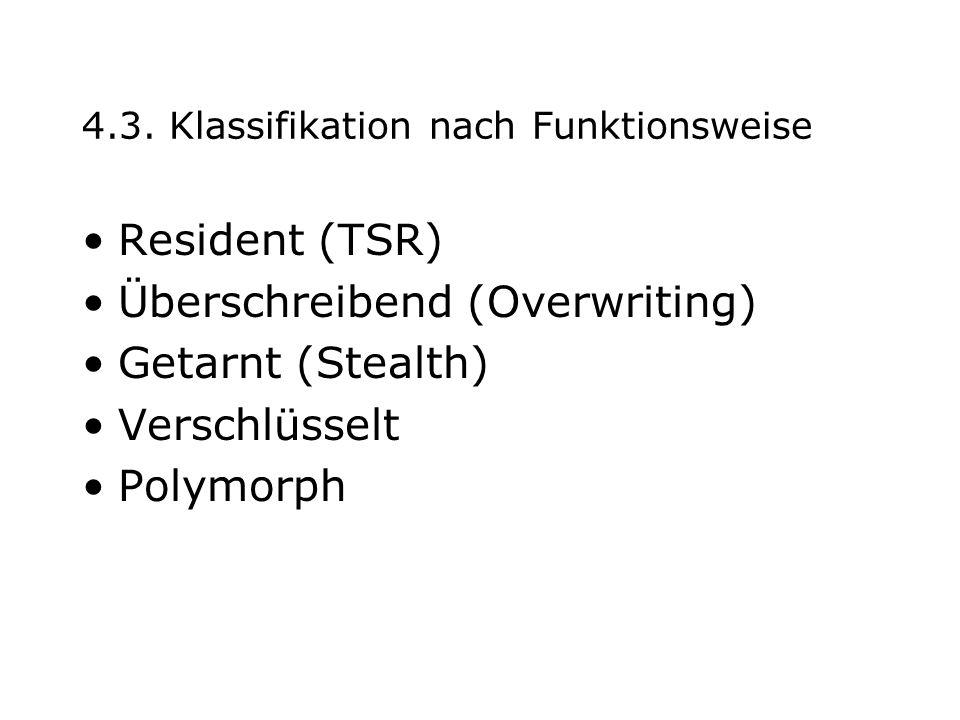 4.3. Klassifikation nach Funktionsweise Resident (TSR) Überschreibend (Overwriting) Getarnt (Stealth) Verschlüsselt Polymorph