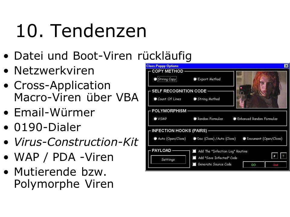 10. Tendenzen Datei und Boot-Viren rückläufig Netzwerkviren Cross-Application Macro-Viren über VBA Email-Würmer 0190-Dialer Virus-Construction-Kit WAP