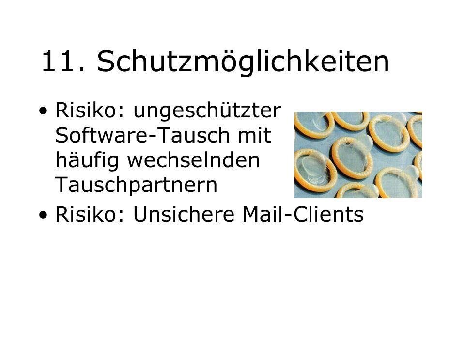 11. Schutzmöglichkeiten Risiko: ungeschützter Software-Tausch mit häufig wechselnden Tauschpartnern Risiko: Unsichere Mail-Clients