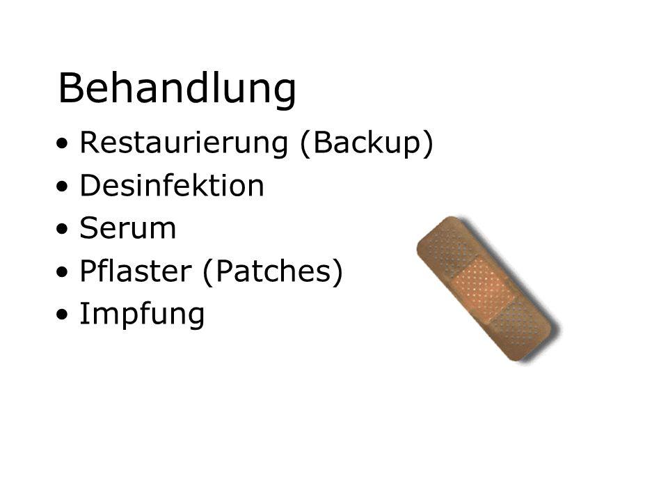 Behandlung Restaurierung (Backup) Desinfektion Serum Pflaster (Patches) Impfung