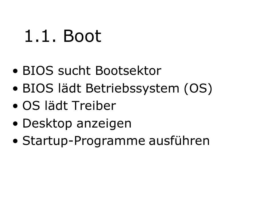 1.1. Boot BIOS sucht Bootsektor BIOS lädt Betriebssystem (OS) OS lädt Treiber Desktop anzeigen Startup-Programme ausführen