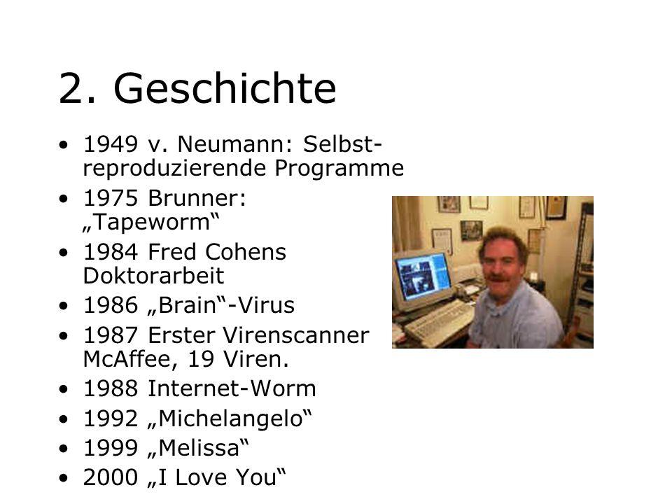 2. Geschichte 1949 v. Neumann: Selbst- reproduzierende Programme 1975 Brunner: Tapeworm 1984 Fred Cohens Doktorarbeit 1986 Brain-Virus 1987 Erster Vir
