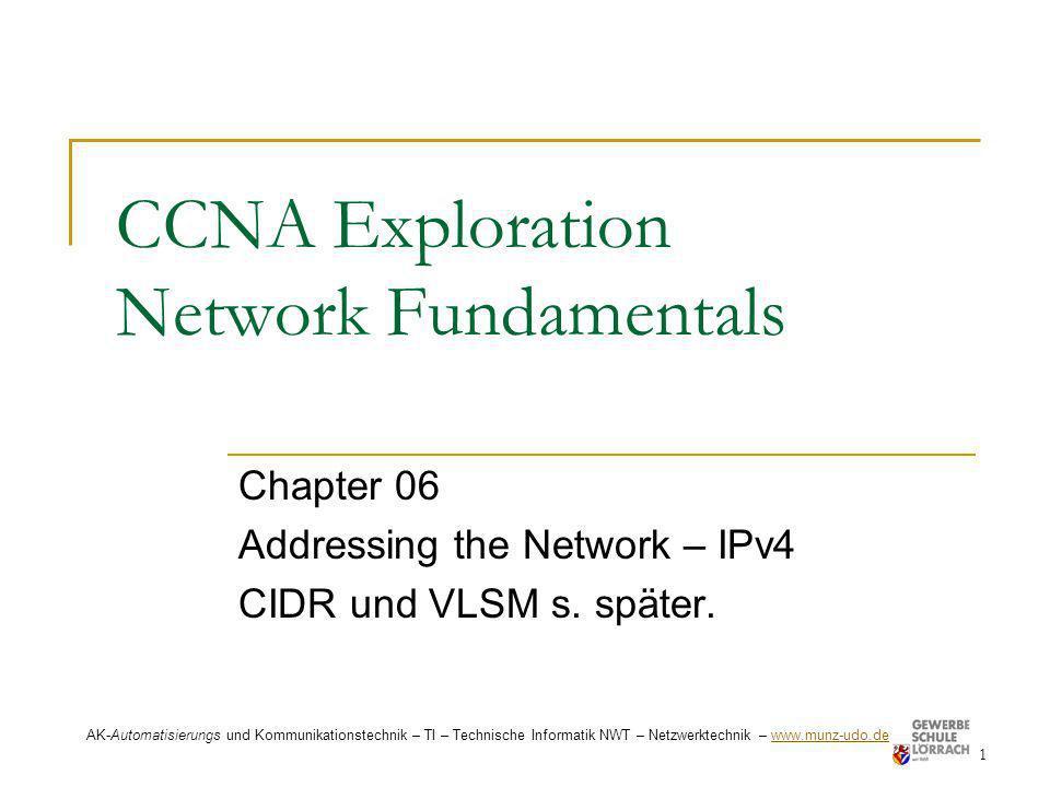 Legacy IPv4 Addressing 22 AK-Automatisierungs und Kommunikationstechnik – TI – Technische Informatik NWT – Netzwerktechnik – www.munz-udo.de www.munz-udo.de