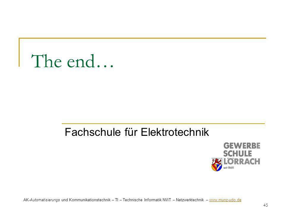 45 The end… Fachschule für Elektrotechnik AK-Automatisierungs und Kommunikationstechnik – TI – Technische Informatik NWT – Netzwerktechnik – www.munz-