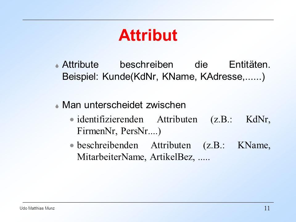 11 Udo Matthias Munz Attribut S Attribute beschreiben die Entitäten. Beispiel: Kunde(KdNr, KName, KAdresse,......) S Man unterscheidet zwischen identi