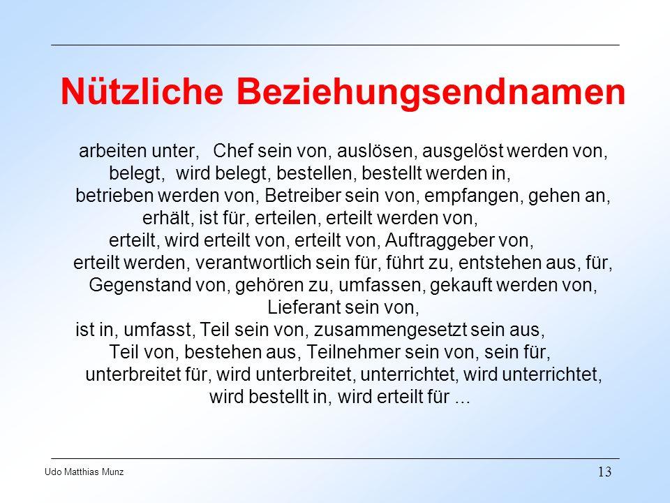 13 Udo Matthias Munz Nützliche Beziehungsendnamen arbeiten unter,Chef sein von, auslösen, ausgelöst werden von, belegt, wird belegt, bestellen, bestel
