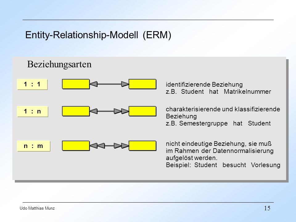 15 Udo Matthias Munz Entity-Relationship-Modell (ERM) 1 : 1 identifizierende Beziehung z.B. Student hat Matrikelnummer 1 : n charakterisierende und kl