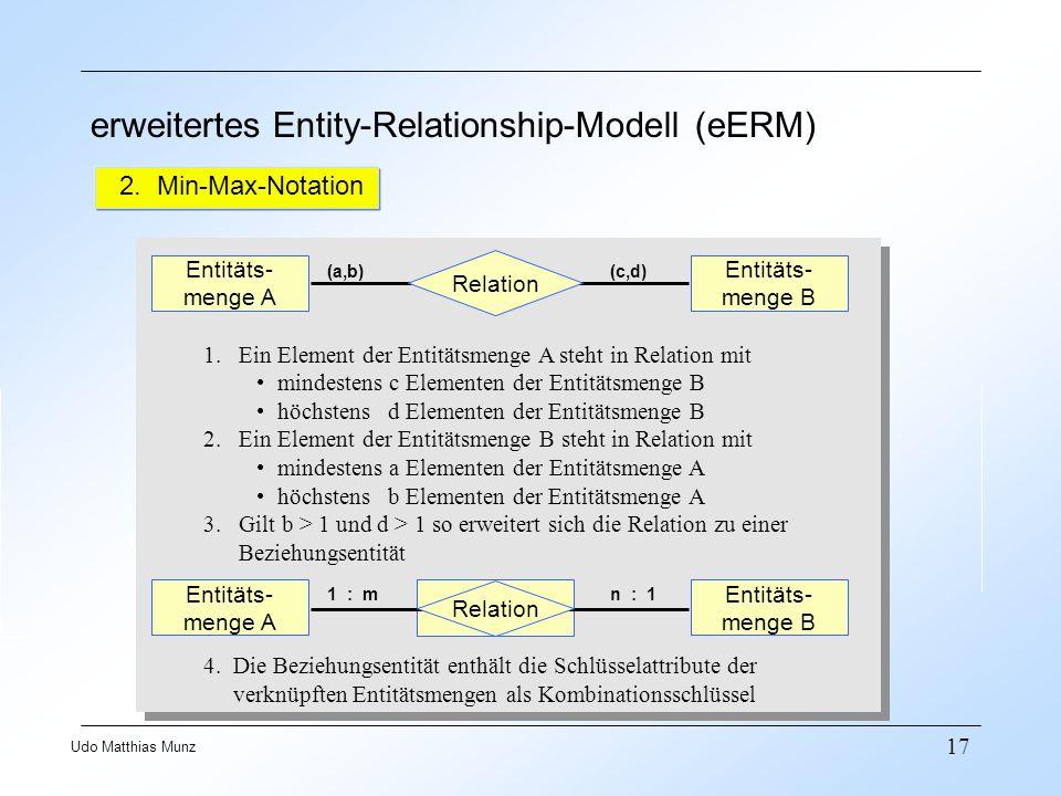 17 Udo Matthias Munz erweitertes Entity-Relationship-Modell (eERM) 2. Min-Max-Notation Relation Entitäts- menge A (a,b)(c,d) Entitäts- menge B 1. Ein