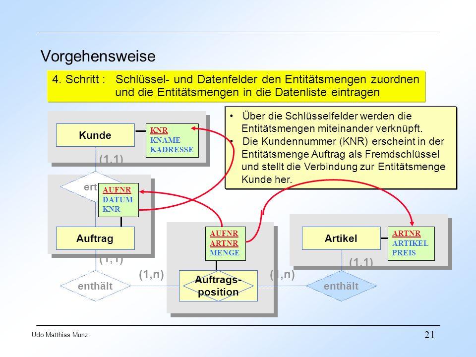 21 Udo Matthias Munz Vorgehensweise 4. Schritt : Schlüssel- und Datenfelder den Entitätsmengen zuordnen und die Entitätsmengen in die Datenliste eintr