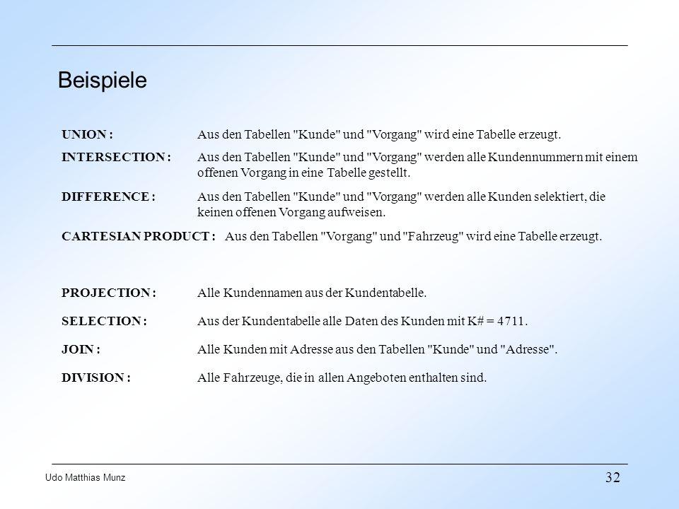 32 Udo Matthias Munz Beispiele UNION : Aus den Tabellen Kunde und Vorgang wird eine Tabelle erzeugt.