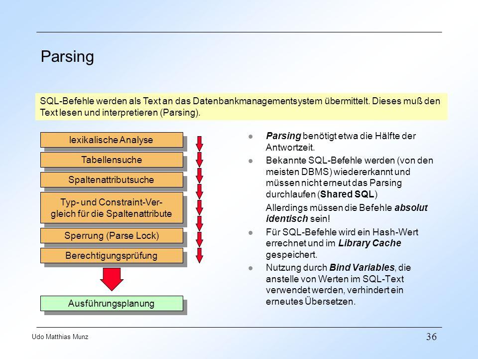 36 Udo Matthias Munz Parsing SQL-Befehle werden als Text an das Datenbankmanagementsystem übermittelt. Dieses muß den Text lesen und interpretieren (P