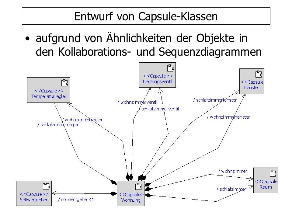Entwurf von Protokollen entsprechend der ausgetauschten Nachrichten in den Sequenzdiagrammen Protokolle können auch durch Statecharts beschrieben werden