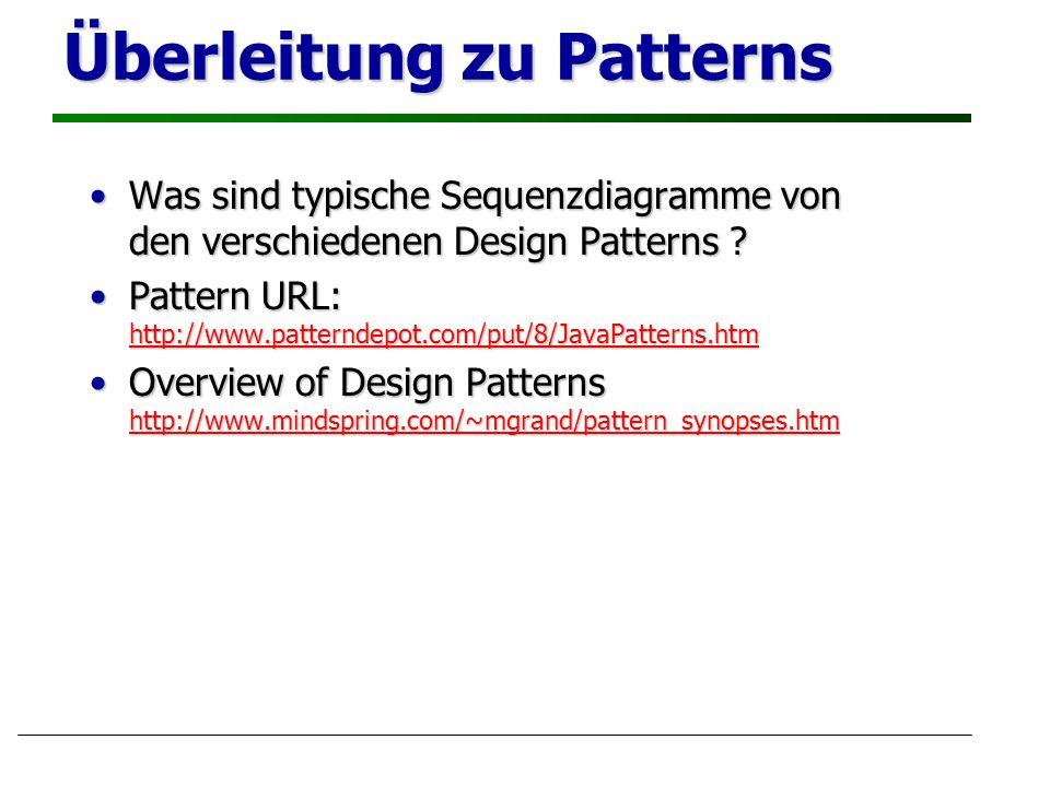 Überleitung zu Patterns Was sind typische Sequenzdiagramme von den verschiedenen Design Patterns ?Was sind typische Sequenzdiagramme von den verschiedenen Design Patterns .
