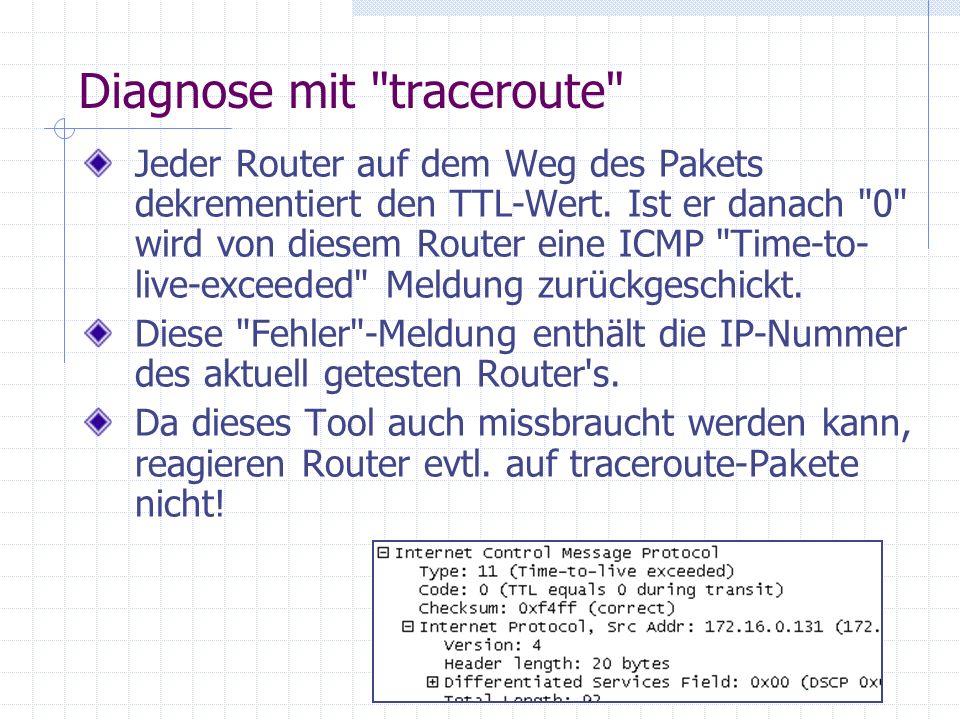 Diagnose mit traceroute Jeder Router auf dem Weg des Pakets dekrementiert den TTL-Wert.