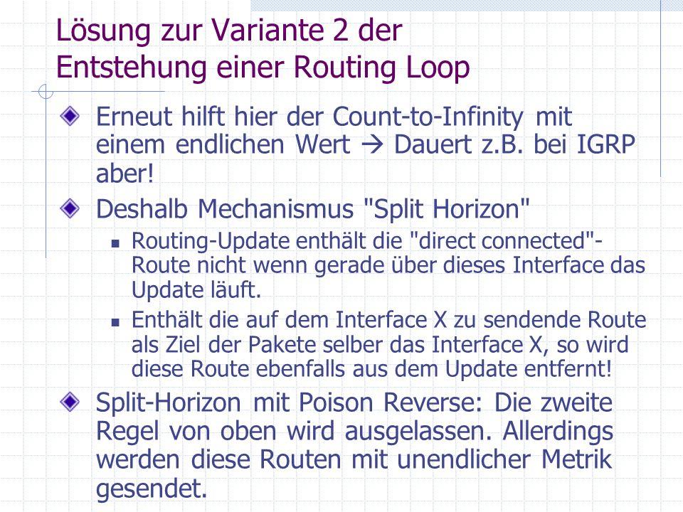 Lösung zur Variante 2 der Entstehung einer Routing Loop Erneut hilft hier der Count-to-Infinity mit einem endlichen Wert Dauert z.B. bei IGRP aber! De