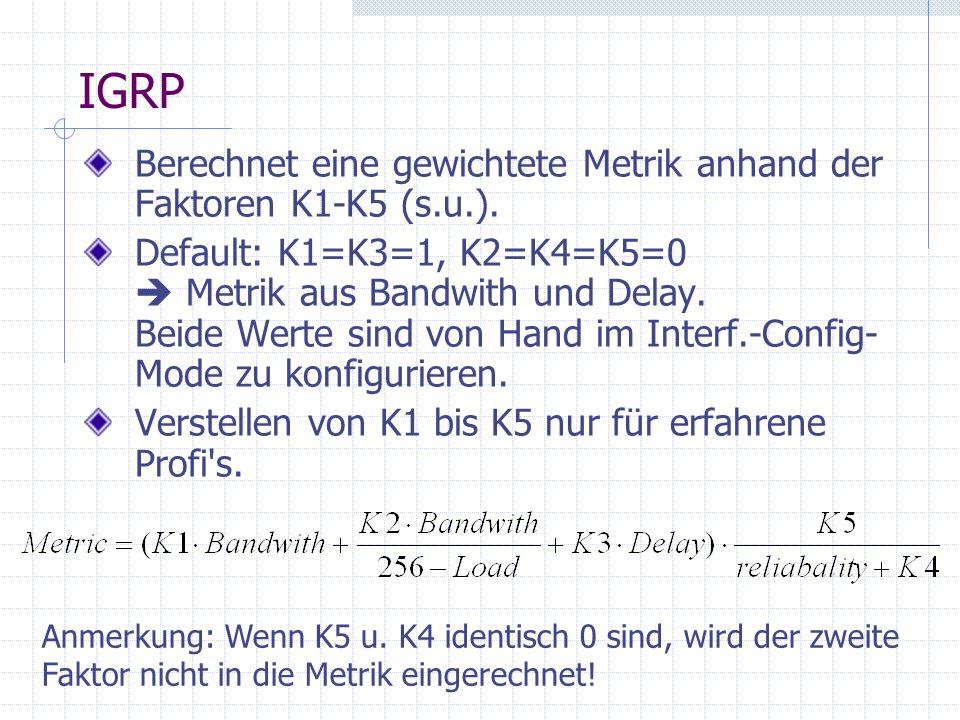IGRP Berechnet eine gewichtete Metrik anhand der Faktoren K1-K5 (s.u.). Default: K1=K3=1, K2=K4=K5=0 Metrik aus Bandwith und Delay. Beide Werte sind v