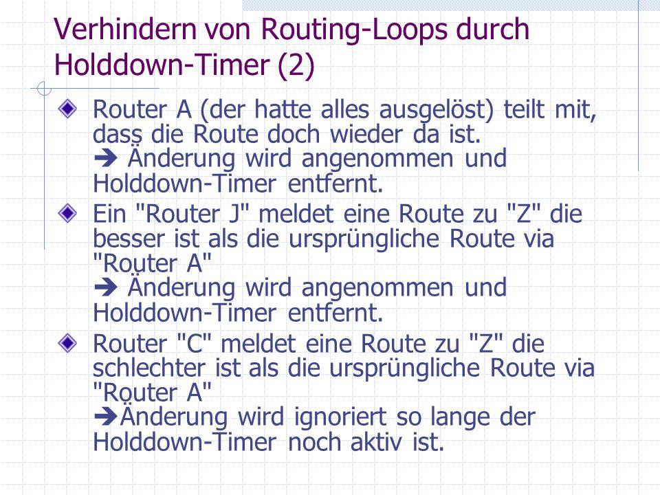 Verhindern von Routing-Loops durch Holddown-Timer (2) Router A (der hatte alles ausgelöst) teilt mit, dass die Route doch wieder da ist. Änderung wird