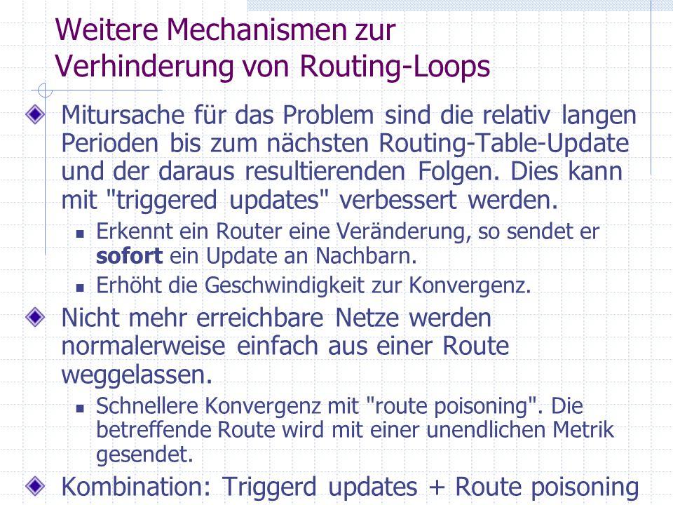 Weitere Mechanismen zur Verhinderung von Routing-Loops Mitursache für das Problem sind die relativ langen Perioden bis zum nächsten Routing-Table-Upda