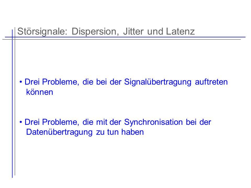 Störsignale: Dispersion, Jitter und Latenz Drei Probleme, die bei der Signalübertragung auftreten können Drei Probleme, die mit der Synchronisation be