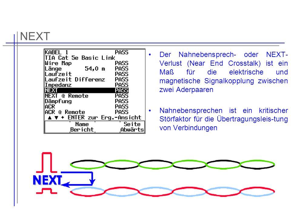 NEXT Der Nahnebensprech- oder NEXT- Verlust (Near End Crosstalk) ist ein Maß für die elektrische und magnetische Signalkopplung zwischen zwei Aderpaar