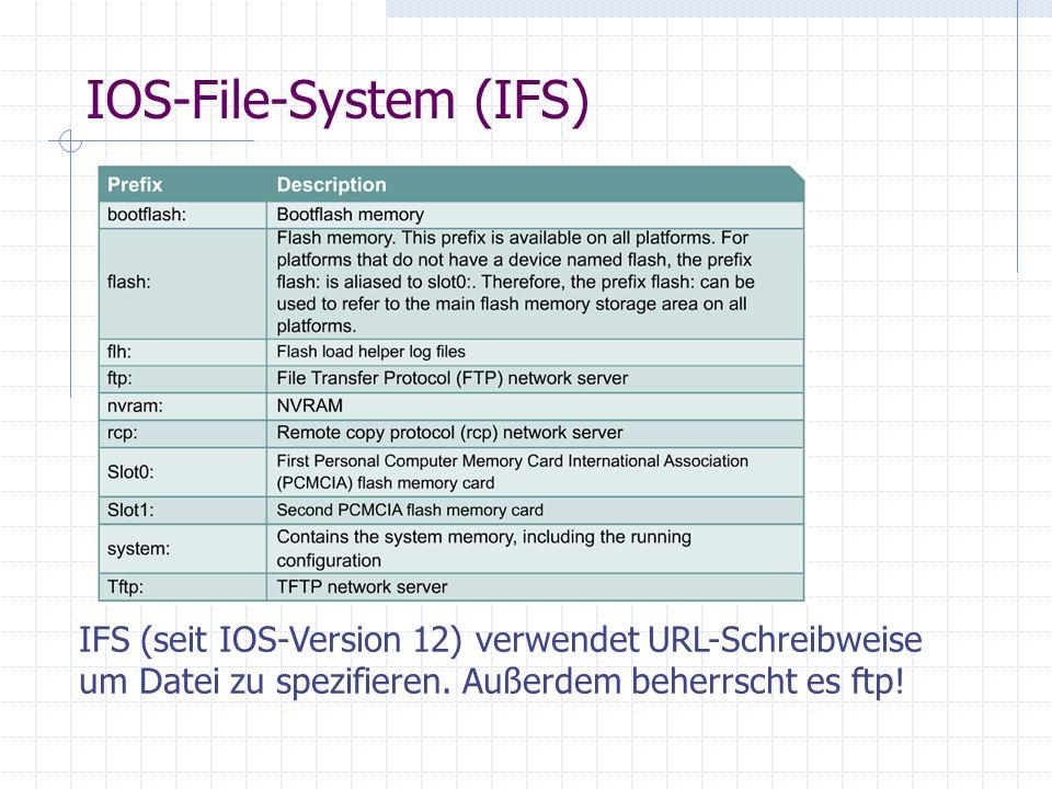 IOS-File-System (IFS) IFS (seit IOS-Version 12) verwendet URL-Schreibweise um Datei zu spezifieren. Außerdem beherrscht es ftp!