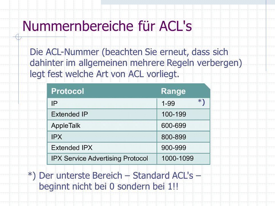 Nummernbereiche für ACL's Die ACL-Nummer (beachten Sie erneut, dass sich dahinter im allgemeinen mehrere Regeln verbergen) legt fest welche Art von AC
