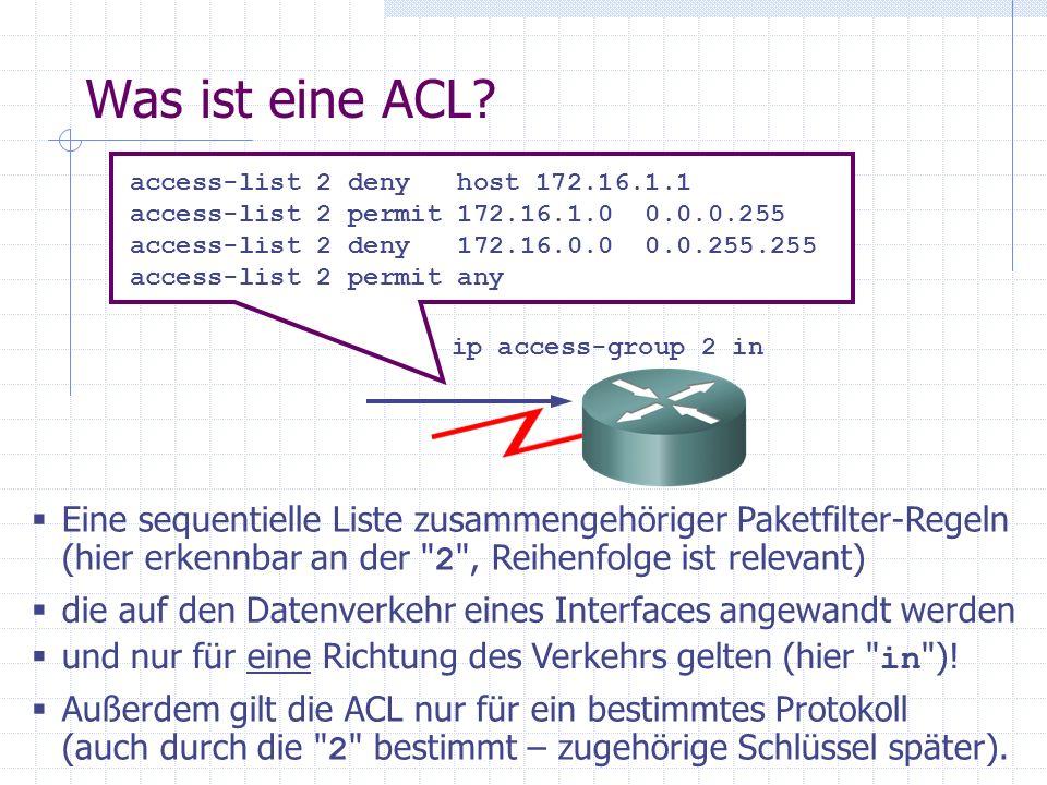 ACL Arbeitsweise einer Interface-ACL (am Eingang eines Interfaces) Permit - + Anhand Routing- Tabelle zum Ausgangs-Interf.