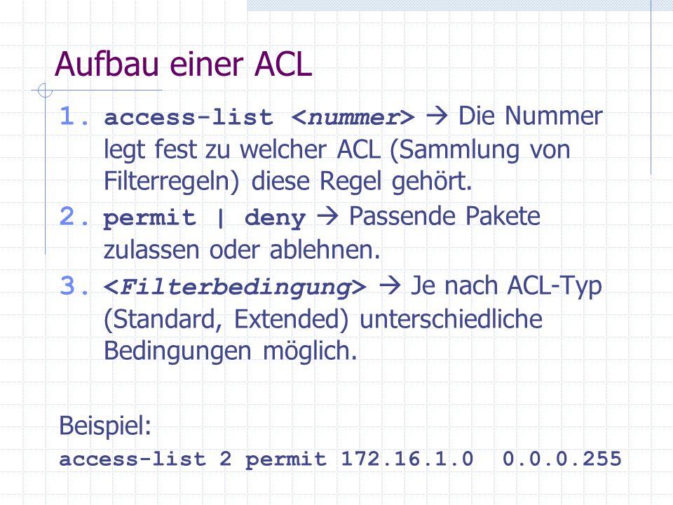 Aufbau einer ACL 1. access-list Die Nummer legt fest zu welcher ACL (Sammlung von Filterregeln) diese Regel gehört. 2. permit | deny Passende Pakete z