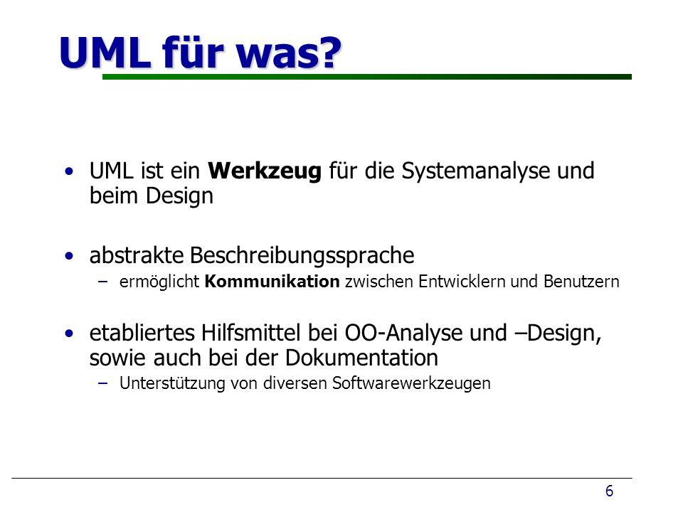 UML für was? 6 UML ist ein Werkzeug für die Systemanalyse und beim Design abstrakte Beschreibungssprache – –ermöglicht Kommunikation zwischen Entwickl