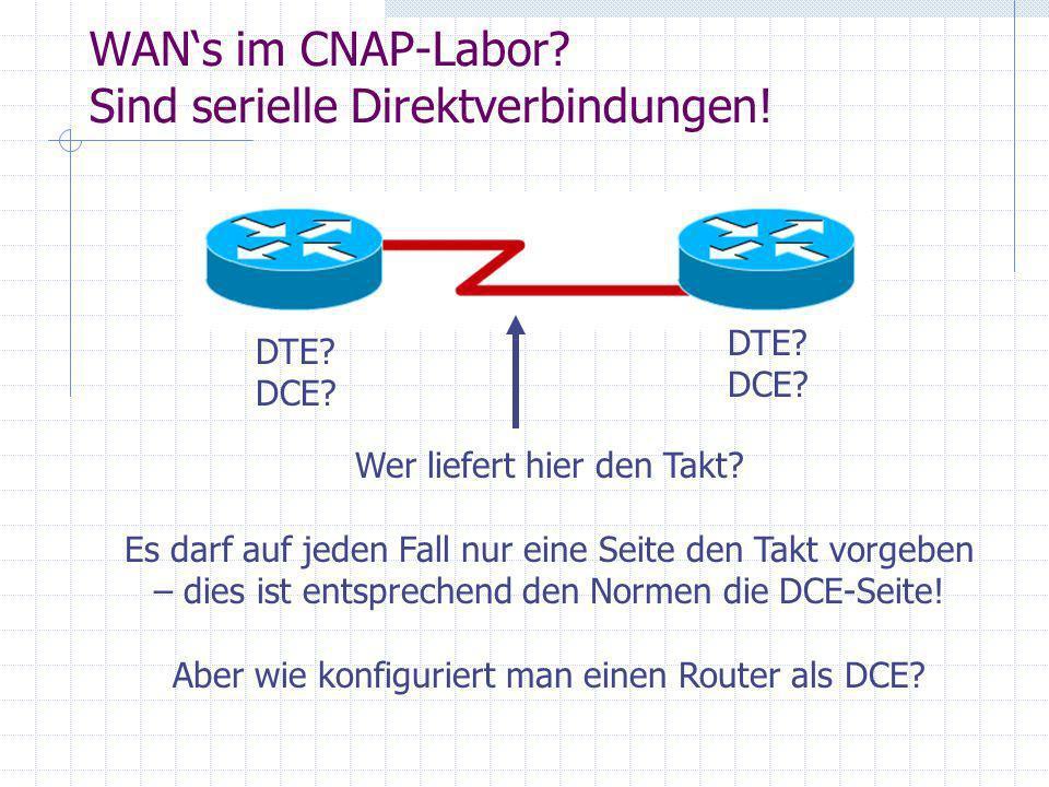 WANs im CNAP-Labor? Sind serielle Direktverbindungen! DTE? DCE? Wer liefert hier den Takt? Es darf auf jeden Fall nur eine Seite den Takt vorgeben – d