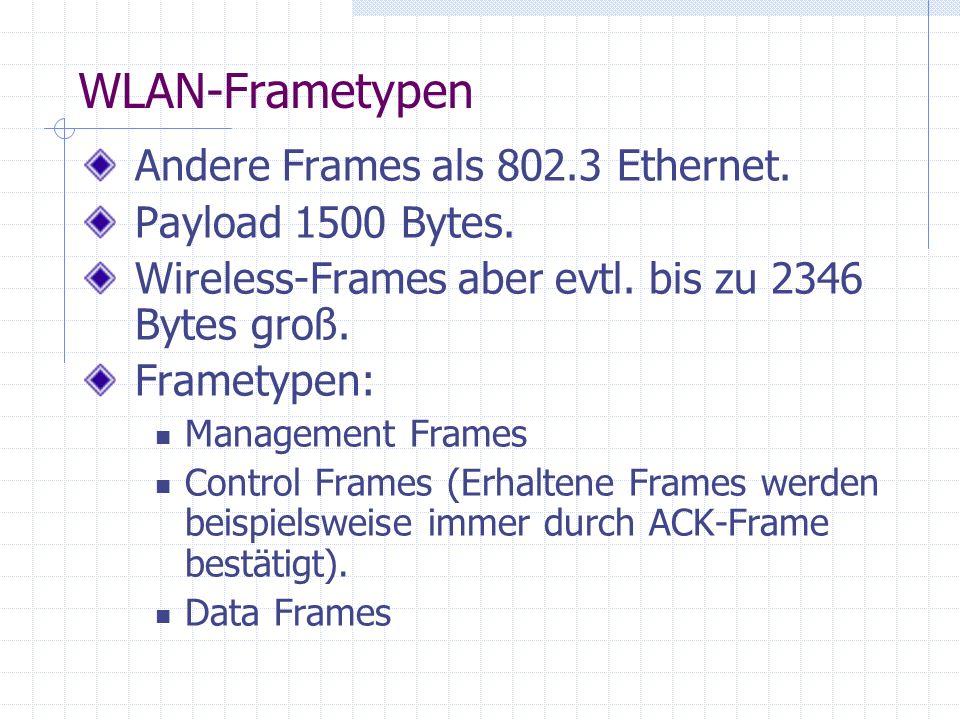 WLAN-Frametypen Andere Frames als 802.3 Ethernet. Payload 1500 Bytes.